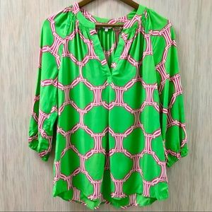 Tops - NWT Green And Pink Blouse size small